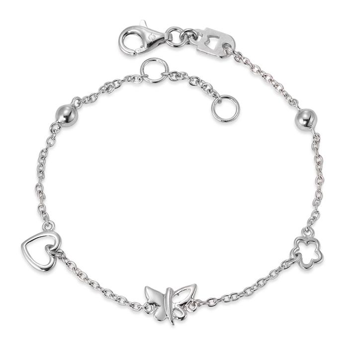 Schmuck Netz Werk AG – Armband Silber Schmetterling, Herz, 16 – 18 cm verstellbar – 220612
