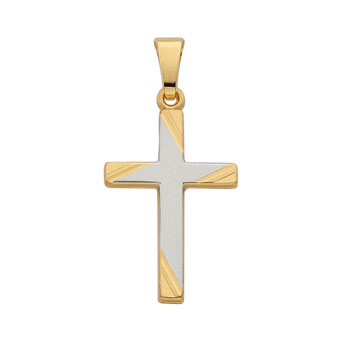 Leo Marty Anhänger Gelb-/ Weissgold Kreuz