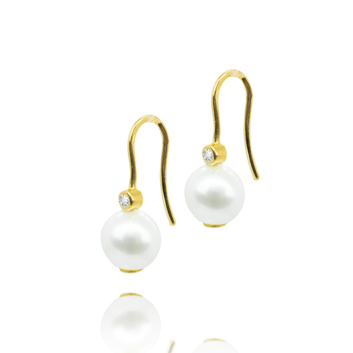 Pfalzer H. & Co. AG Ohrhänger Gelbgold mit Perle und Brillant