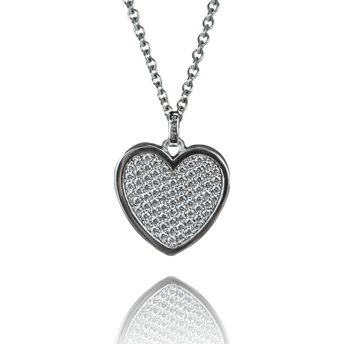 Iten AG Luzern Collier Silber rhodiniert mit Anhänger Herz