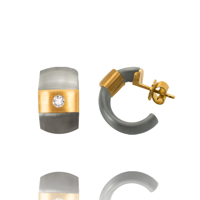 Meister & Co. AG Halbcreolen in Titan mit Gelbgold + Brillanten