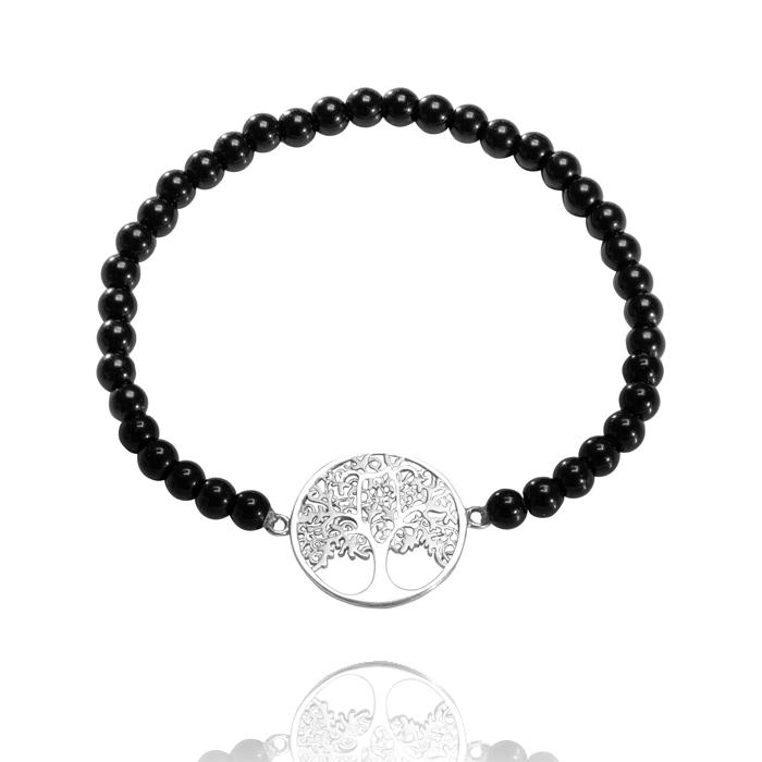 Amor Distribution Sàrl – Armband flexibel Lebensbaum Onyx – AB2020