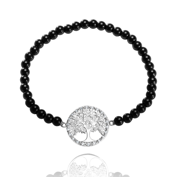 Amor Distribution Sàrl – Armband flexibel Lebensbaum Onyx – AB2021